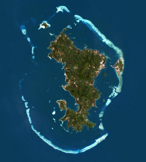 Mayotte, son lagon et sa structure récifale (©IGN)