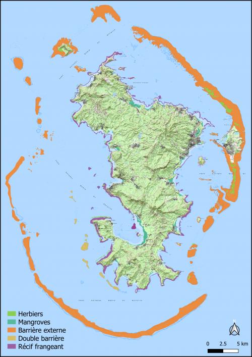 Ecosystèmes marins et côtiers de Mayotte (©IGN Scan25 ; ©DEAL 976)